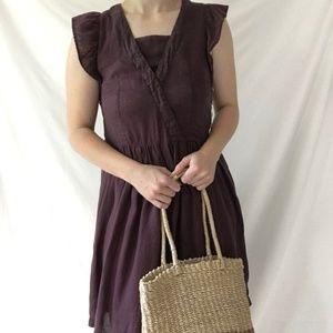 Linen Plum Cross Front Dress